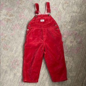 Oshkosh Red Velvet Overalls with Floral Lining